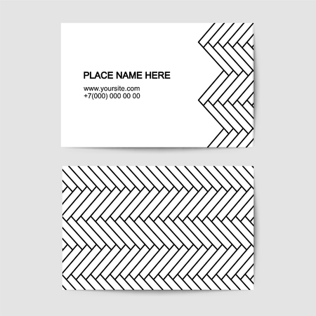 visit card vector template with Parquet floor linear geometric background