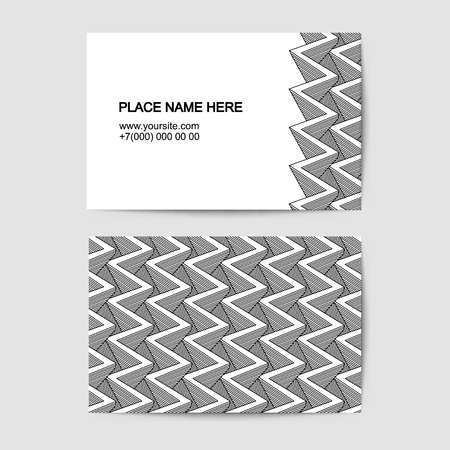 visit card vector template with black and white zig zag pattern