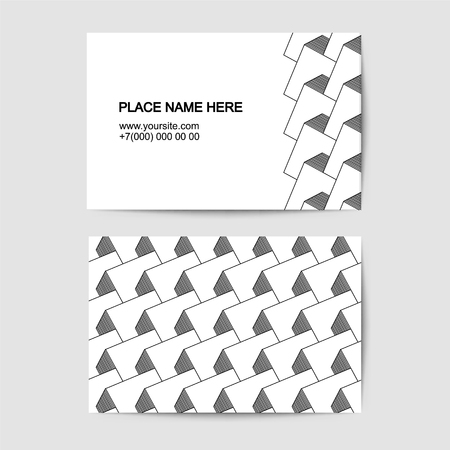 visit card vector template with black and white pattern
