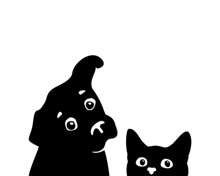 Curious cat and dog muzzles. Sticker on a car or a refrigerator Ilustração
