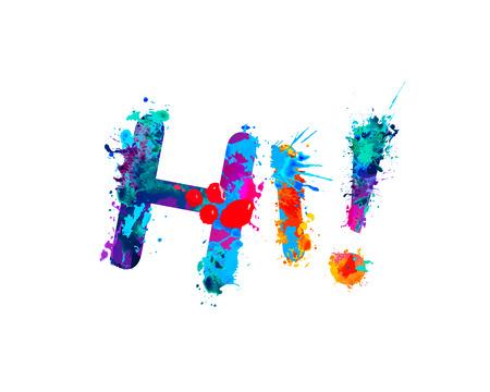 Hola. Inscripción de fuente vectorial de letras de pintura splash