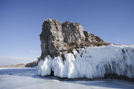 Mare head Cape. Chorin-irgi, Lake Baikal, Olkhon island. Winter landscape