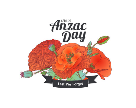 Anzac Day card. April 25. Lest we forget Vectores