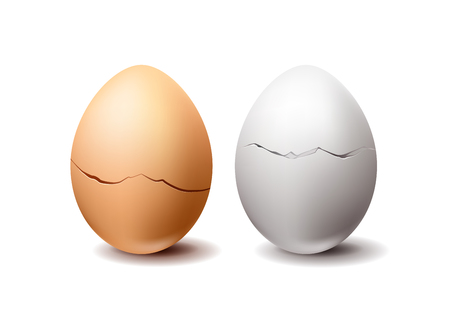White and wrown realistic vector chicken eggs with crack isolated on white background 写真素材 - 117834453
