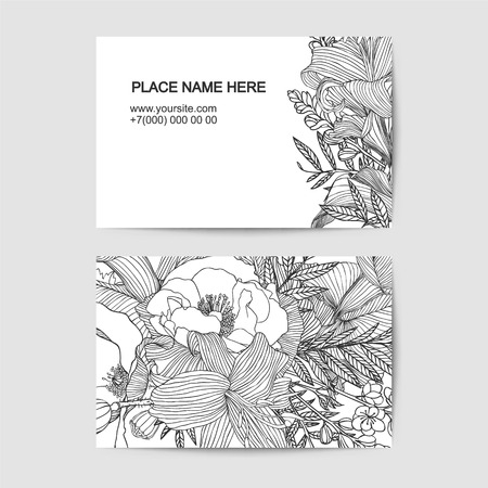 visit card vector template with different flowers. Black and white