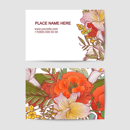 visit card vector template with different flowers Stock Illustratie
