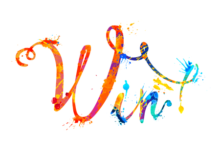 Win. Vector calligraphic word of splash paint