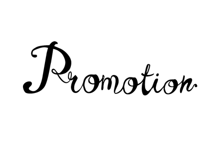 Promotion. Vector calligraphic hand written inscription black on white