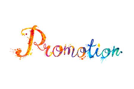 Promotion. Vector calligraphic hand written word of splash paint