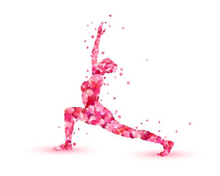 Yoga asana virabhadrasana. Warrior pose. Silhouette of pink rose petals