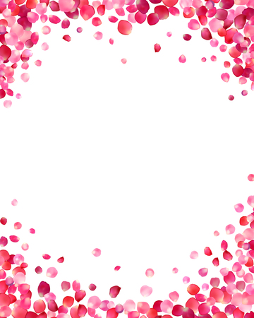 White background with vector pink rose petals