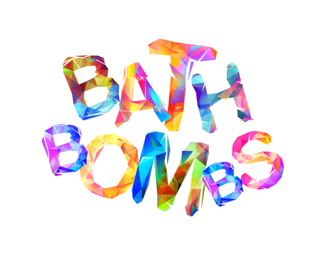 Bath bombs. Vector words of triangular colorful letters