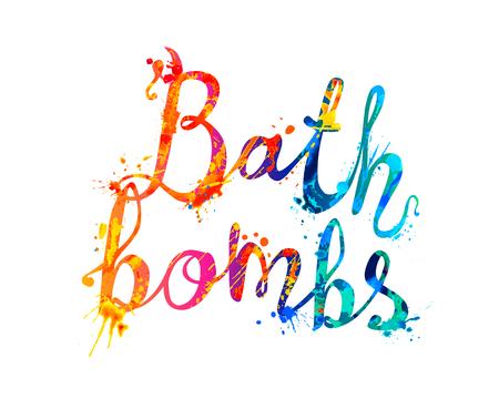 Bombas de baño. Palabras vectoriales escritas a mano de pintura de salpicaduras de arco iris