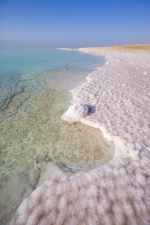 Salt on the shore of the Dead Sea. Jordan landscape