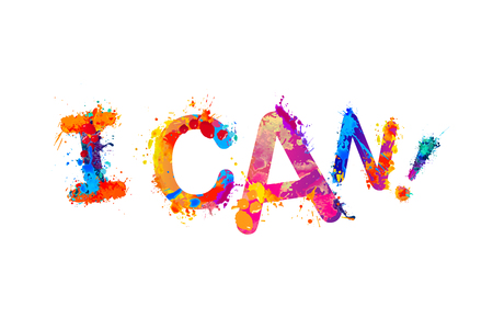 I CAN. Motivation inscription of splash paint letters