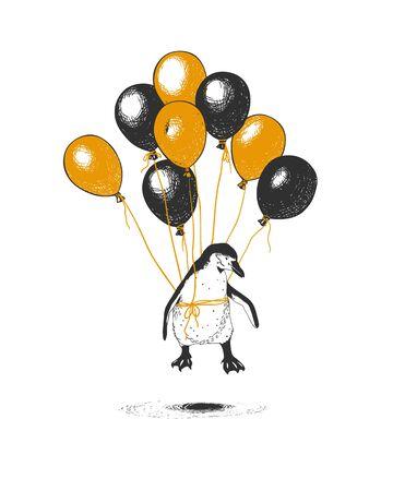 Pingüino volando en globos. Ilustración vectorial sobre un sueño hecho realidad.