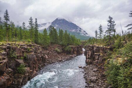 Hoisey River Gorge in Putorana Plateau, Taimyr. Russia, Siberia Stock Photo
