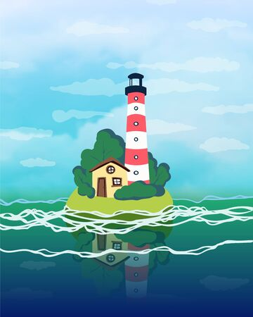 Lighthouse on a small island in the sea. Vector