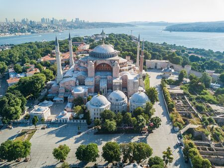 Hagia Sophia in Istanbul. Aerial view building