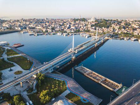 Golden Horn Metro Bridge in Istanbul City, Turkey. Aerial view