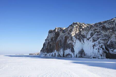 Large Icicles. Lake Baikal. Winter frozen nature