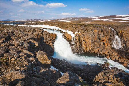 Waterfall on the Hikikal River, Putorana Plateau, Taimyr. Russia, Siberia