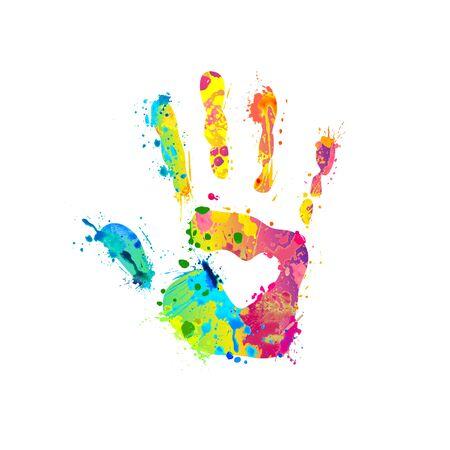 Hand palm sign of vector rainbow splash paint