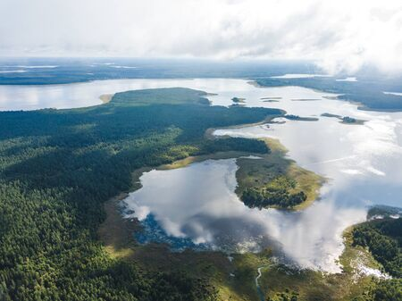 Hachin island. View of Lake Seliger from the above. Russian nature landscape