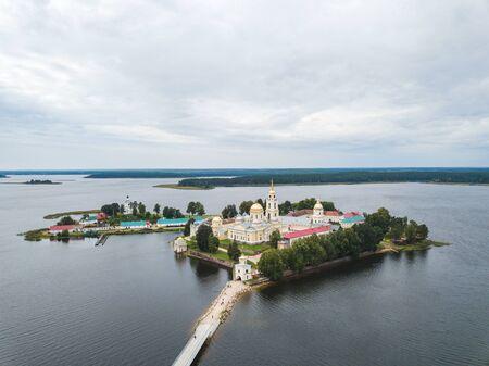 Nilova Pustyn Orthodox male monastery located on the island of Stolobny. Seliger lake Stock Photo