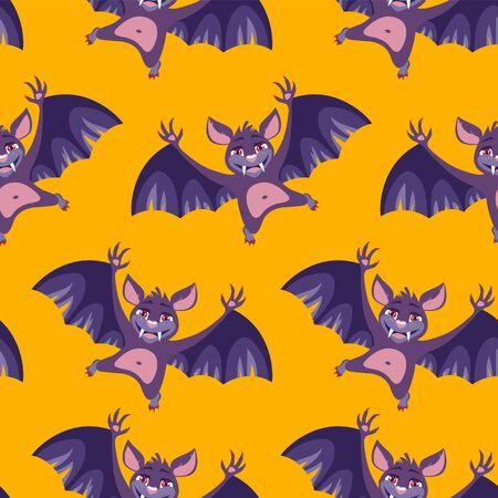 Seamless vector pattern of cute Halloween bats Stock Photo