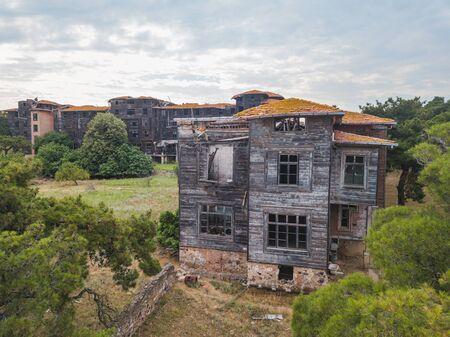 Ruined Greek shelter on Buyukada Island. Adalar, Istanbul in Turkey
