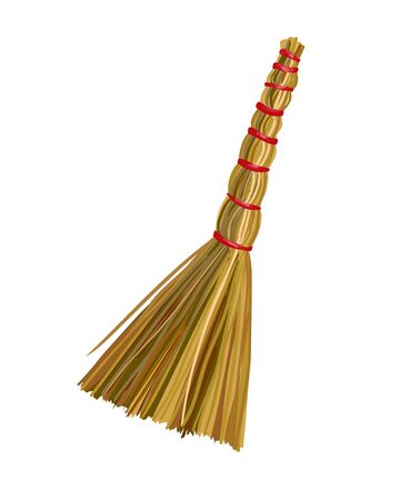 Straw besom on white background. Vector illustration