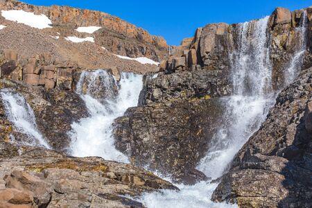 Taimyr. Waterfall on the Putorana Plateau. Russia, Siberia