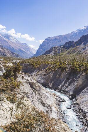 Marsyandi river valley. Himalayan mountains of Nepal. Annapurna circuit trek Stock Photo
