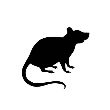 Rat. Vector black silhouette isolated on white background