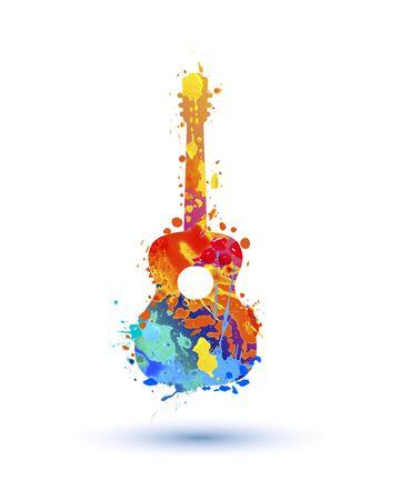 Silhouette of guitar of splash paint. Vector symbol Çizim