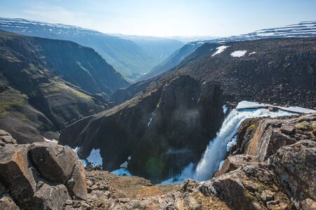 Upper part of 55-meter waterfall on the first right tributary of the Hikikal river, Putorana Plateau, Taimyr. Russia, Siberia