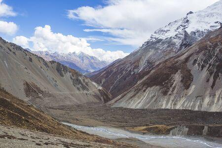 Trail to Tilicho Lake, Himalayan Mountains of Nepal. Annapurna circuit trek 写真素材