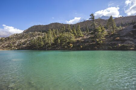 Dhumba Lake in Jomsom. Himalaya mountains, Nepal. Annapurna circuit trek 写真素材