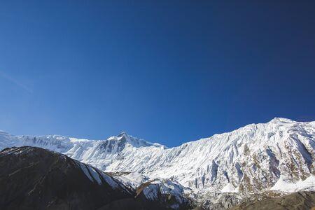 Tilicho peak. Himalayan Mountains of Nepal. Annapurna circuit trek
