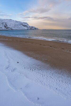 Barents Sea or Arctic Ocean Shore. Kola Peninsula winter landscape