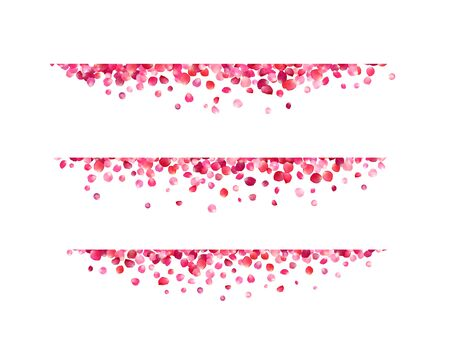 Vector page dividers of pink rose petals.