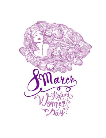 8 march. Happy Women Day. Girl in orchid flowers. Vector linear illustration
