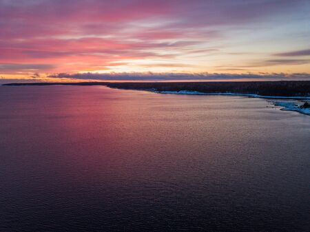 Dawn on the skerries of Ladoga Lake. Leningrad region landscape, Russia