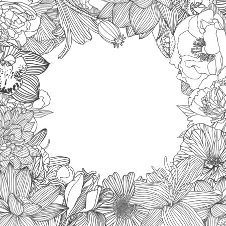 Decorative frame of different vector flowers. Linear  lotus, orchid, mallow, peony, chamomile, poppy, lily, chrysanthemum, iris