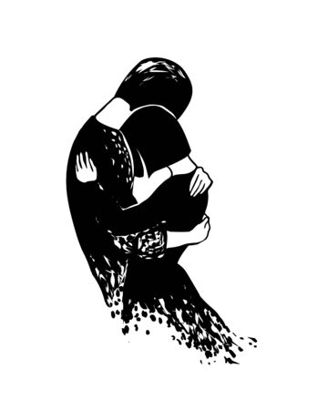 Parting. lovers hug for the last time. Vector black and white illustration