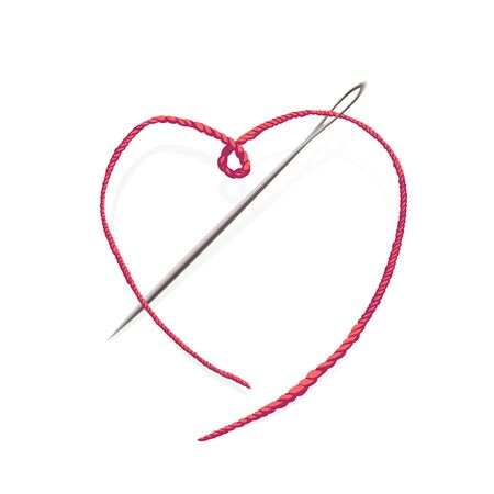 Needle with pink string in the shape of a heart. Vector symbol of hobbey