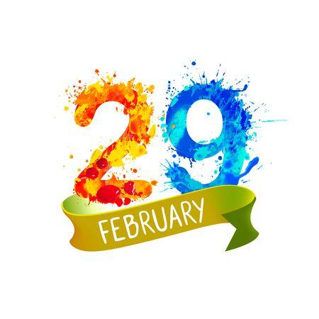 29. Februar. SCHALTTAG. Vektorspritzfarbe