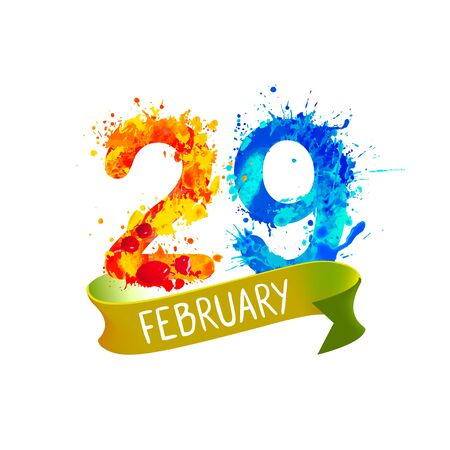February 29. LEAP DAY. Vector splash paint