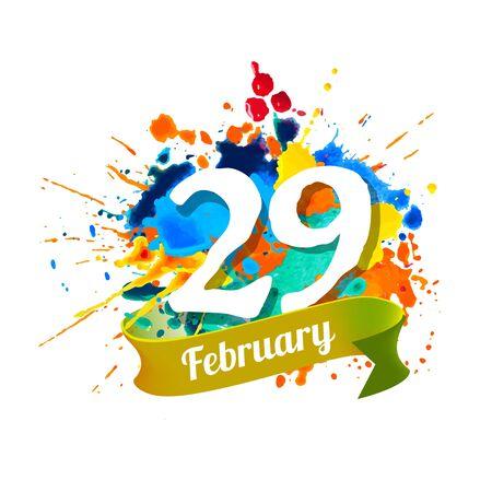 29 février. JOUR DU SAUT. Peinture d'éclaboussure de vecteur